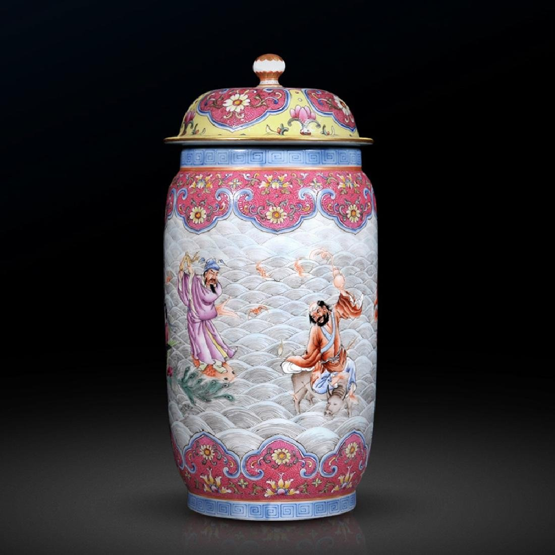 chinese famille rose jar with lid and qianlong period