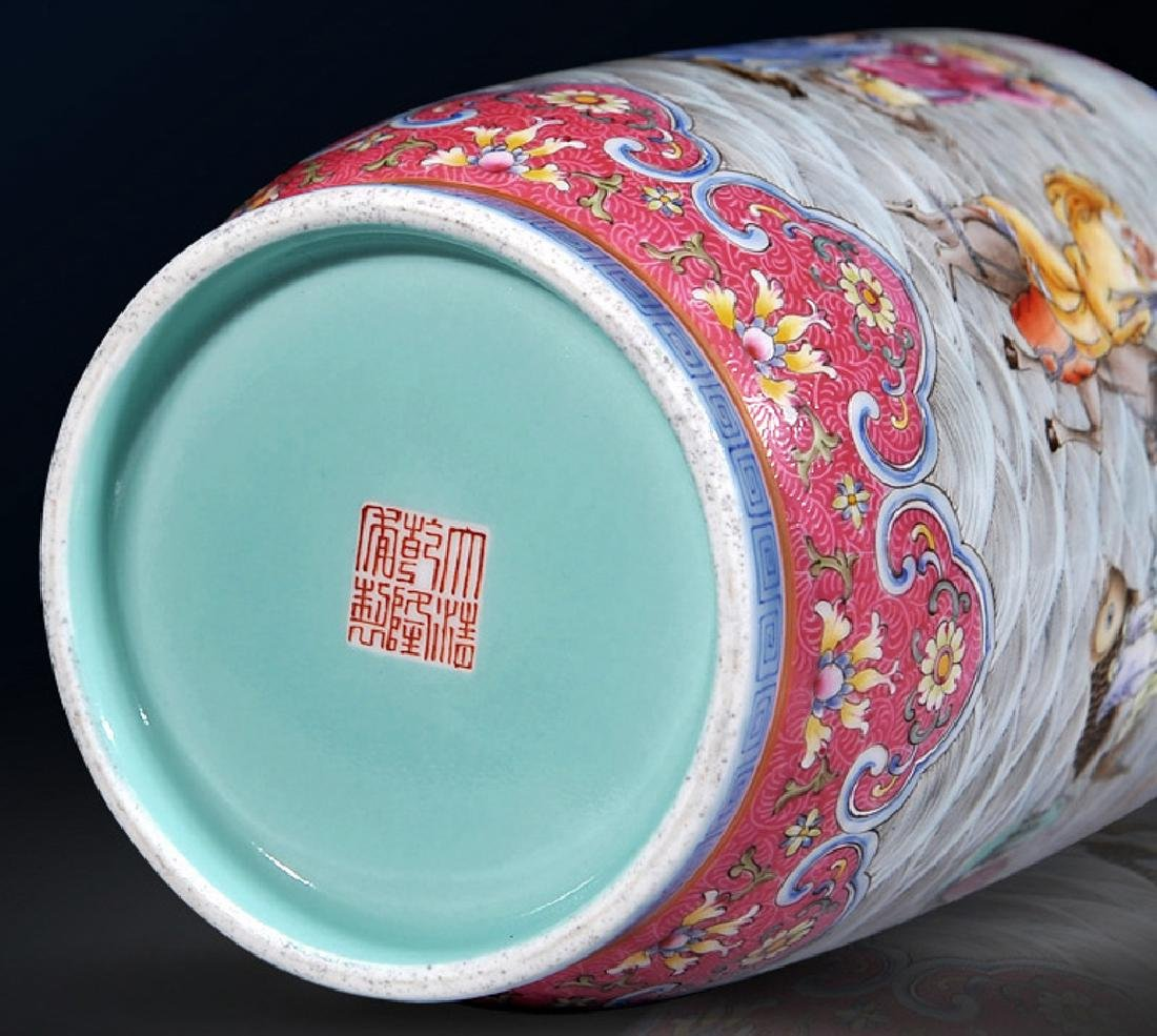 chinese famille rose jar with lid and qianlong period - 2