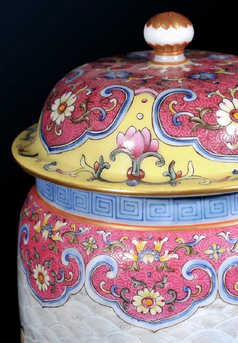 chinese famille rose jar with lid and qianlong period - 4
