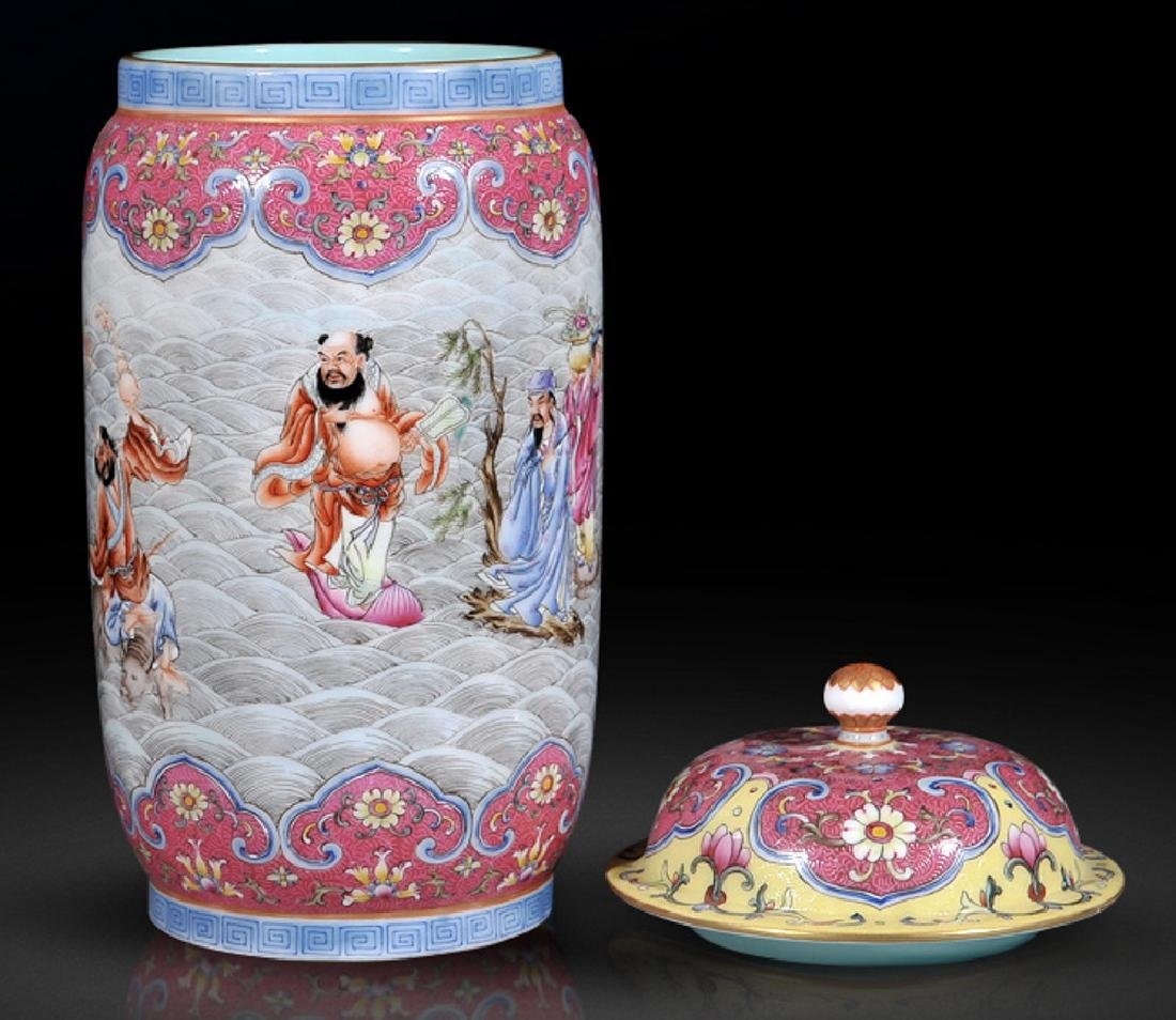 chinese famille rose jar with lid and qianlong period - 5