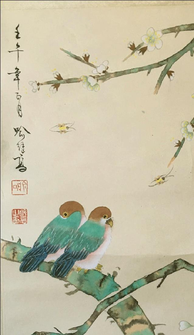 Chinese Scroll Painting of Flower and Bird Signed by Yu - 3