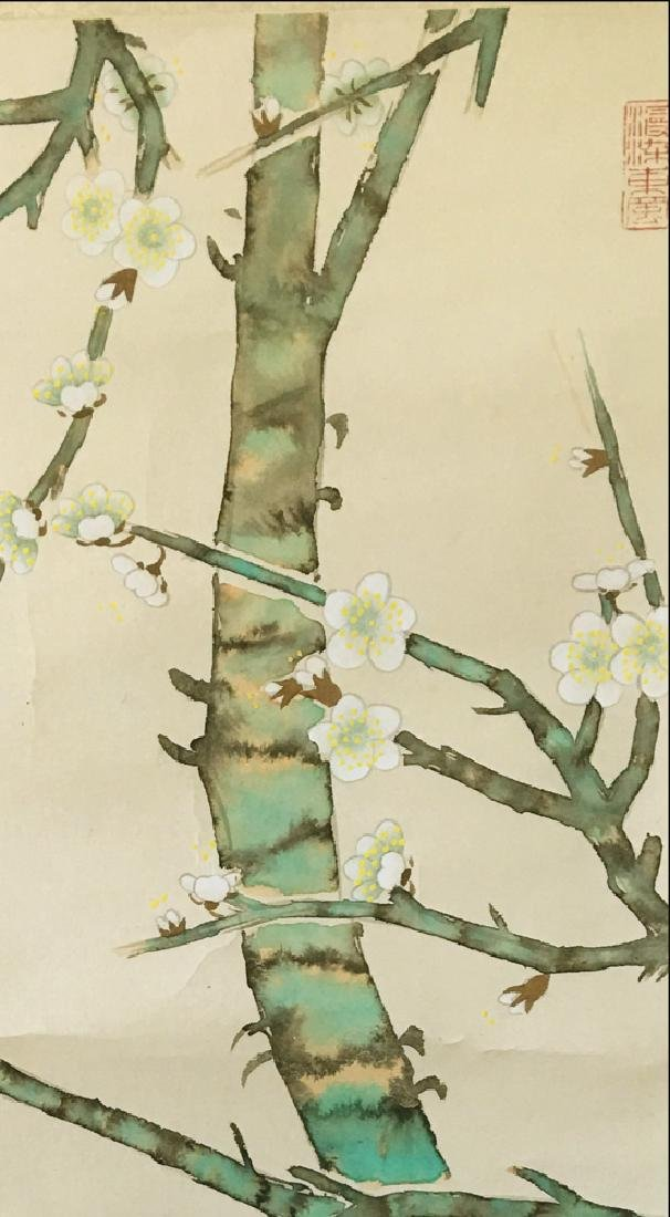 Chinese Scroll Painting of Flower and Bird Signed by Yu - 4
