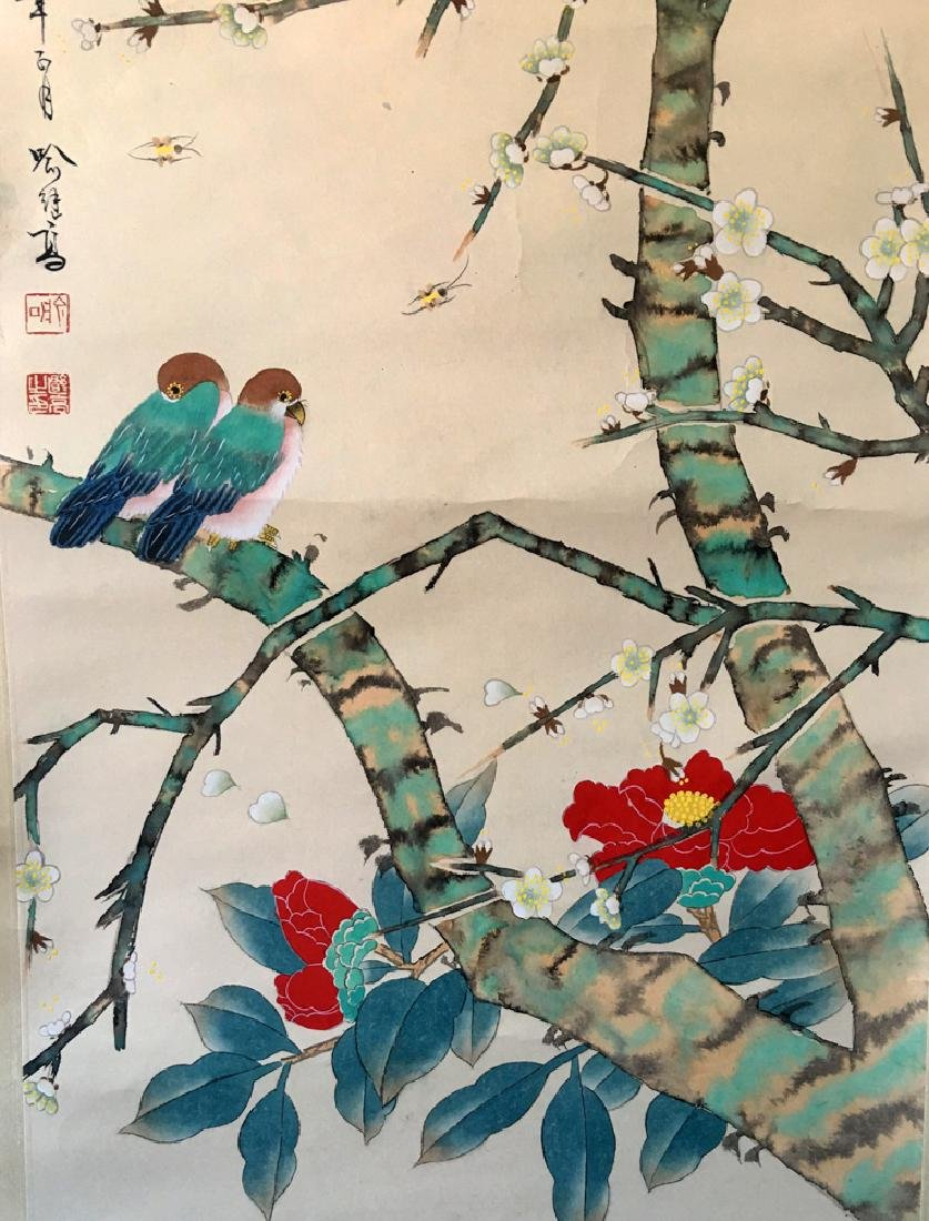 Chinese Scroll Painting of Flower and Bird Signed by Yu - 5