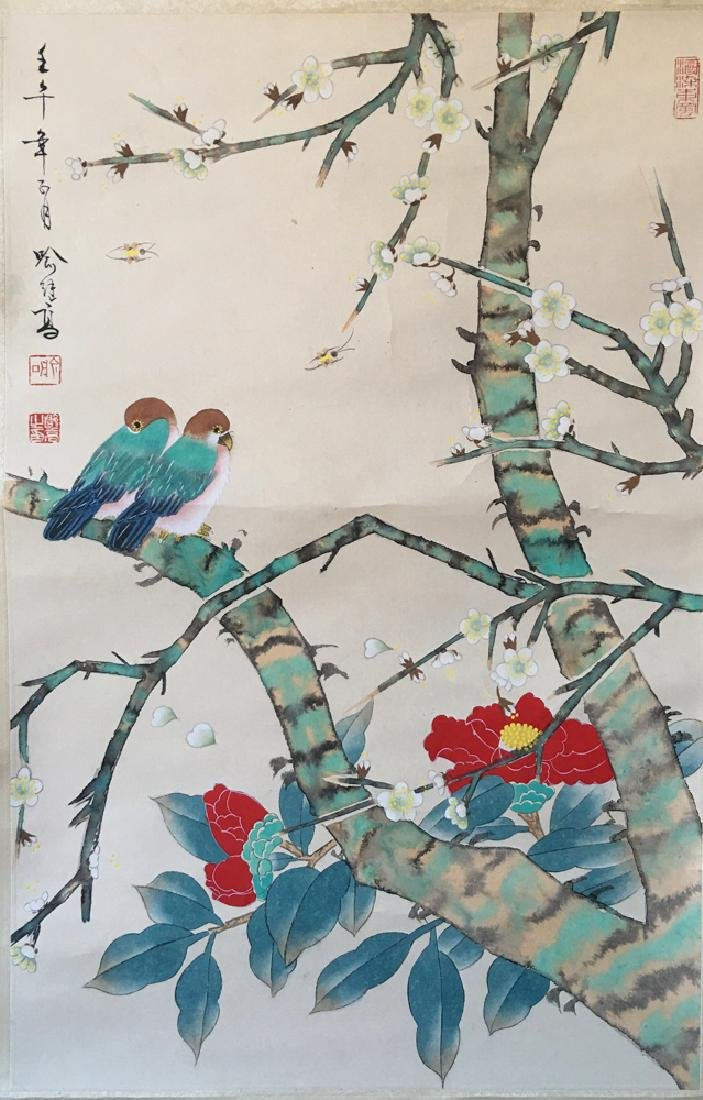 Chinese Scroll Painting of Flower and Bird Signed by Yu - 7