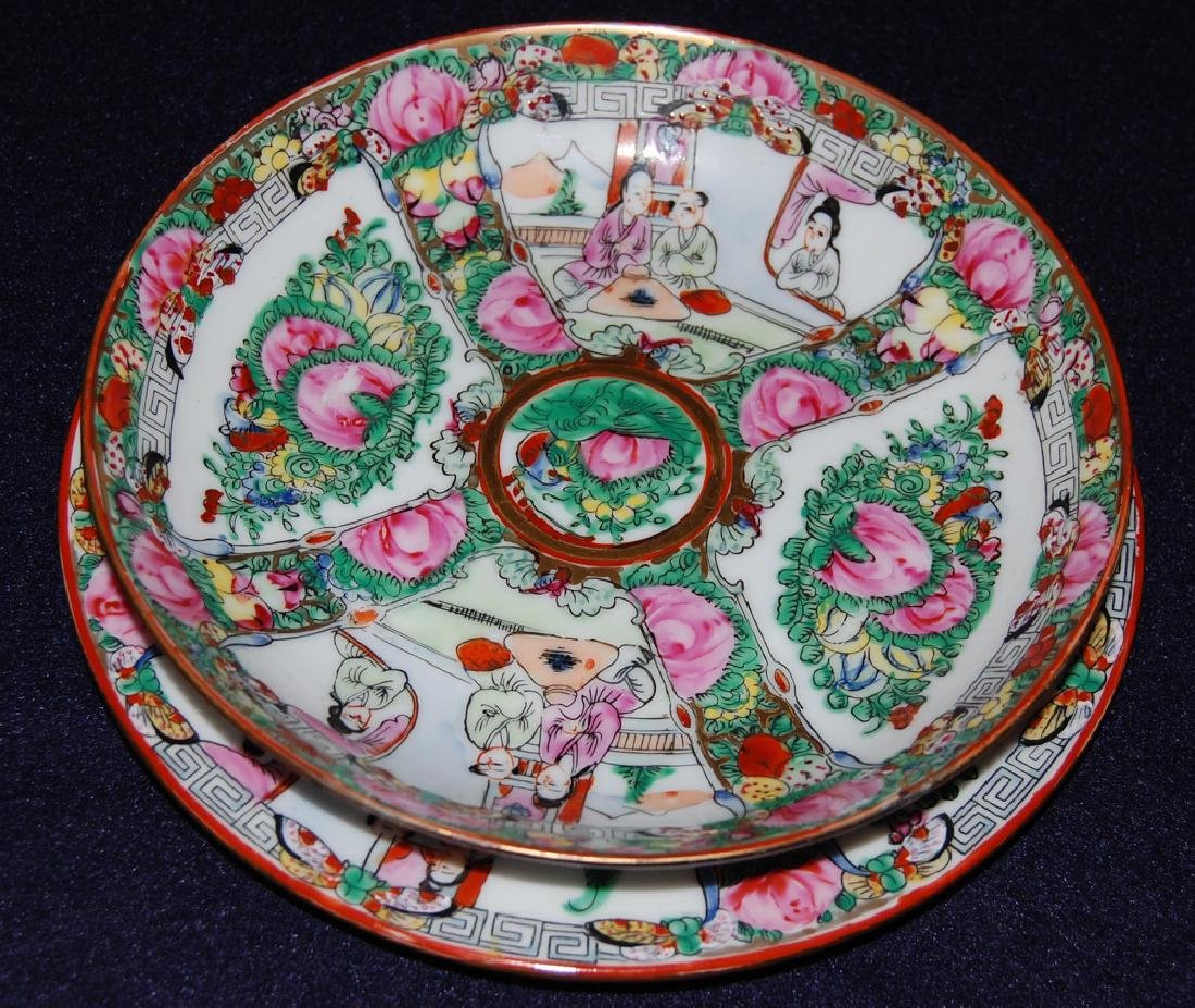 A Pair of Famille Rose Plate in Flower & Figure