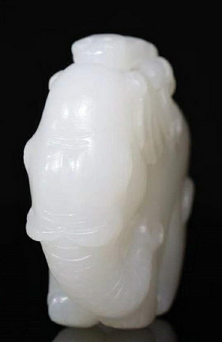 A MING WHITE JADE CARVING FIGURE OF ELEPHANT - 6