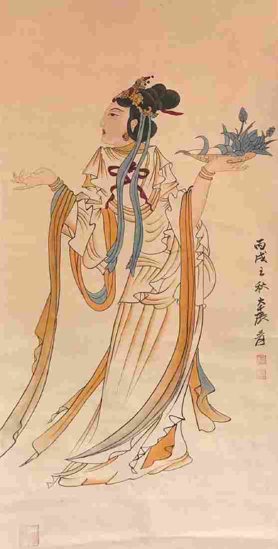 ZHANG DAQIAN PAINTING OF LADY
