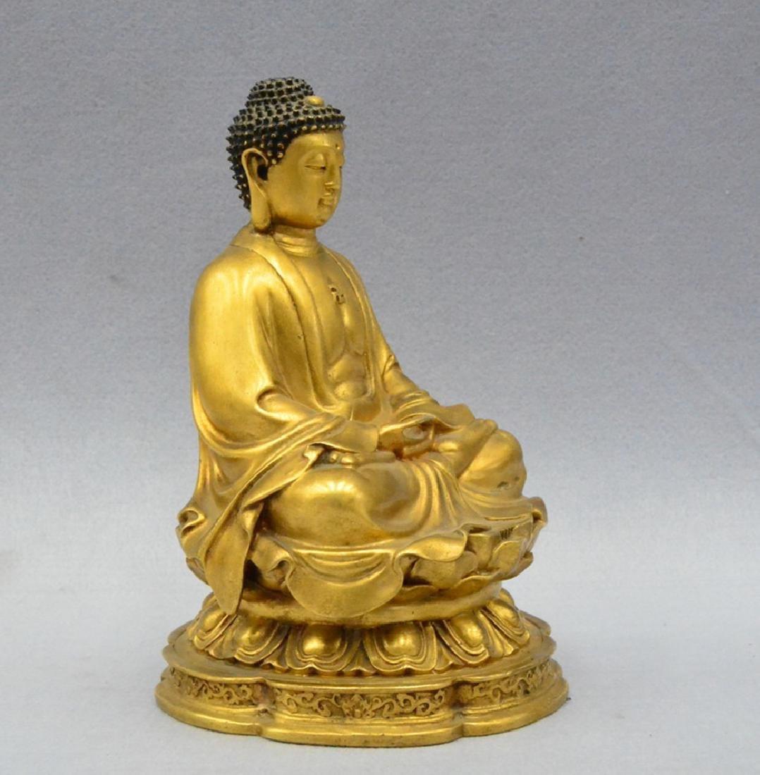 CHINESE GILT BRONZE BUDDHA - 5