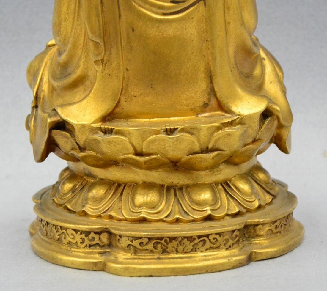 CHINESE GILT BRONZE BUDDHA - 9