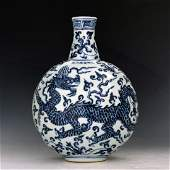 CHINESE BIUE AND WHITE MOON FLASKS