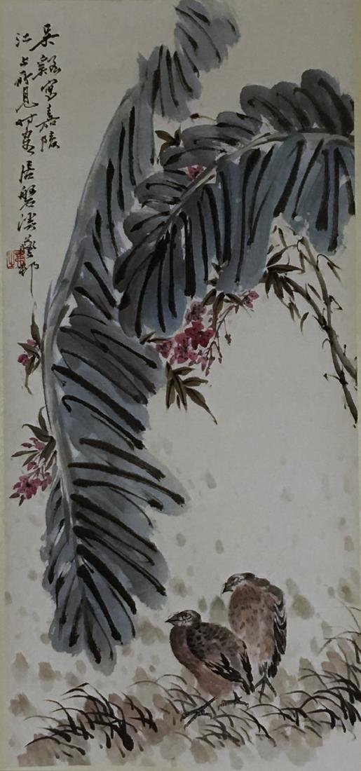 CHINESE PAINTING OF FLOWER AND BIRD SIGNED WU XI