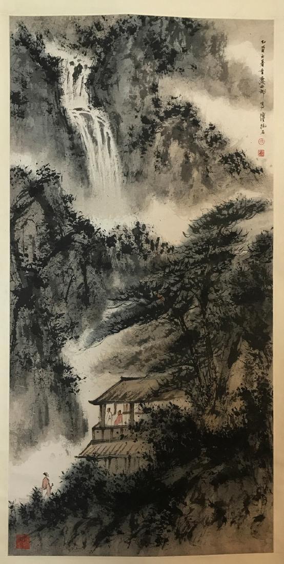 CHINESE PAINTING OF LADNDSCAPE, SIGNED FU BAO SHI