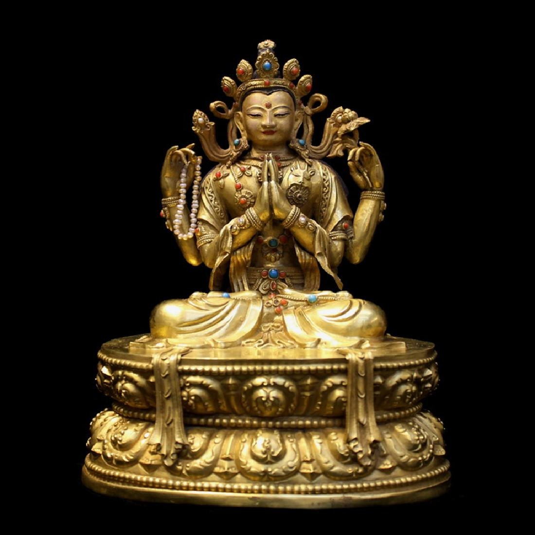 PURE GOLD QUAN YIN WITH FOUR ARMS