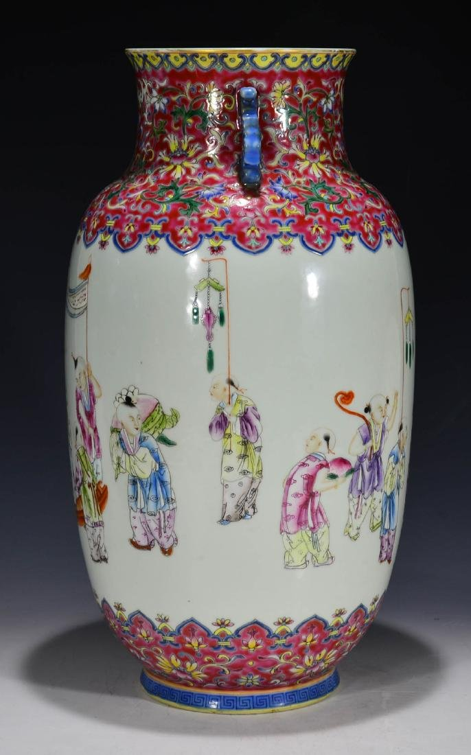 CHINESE 19 TH C FAMILLE ROSE VASE - 10