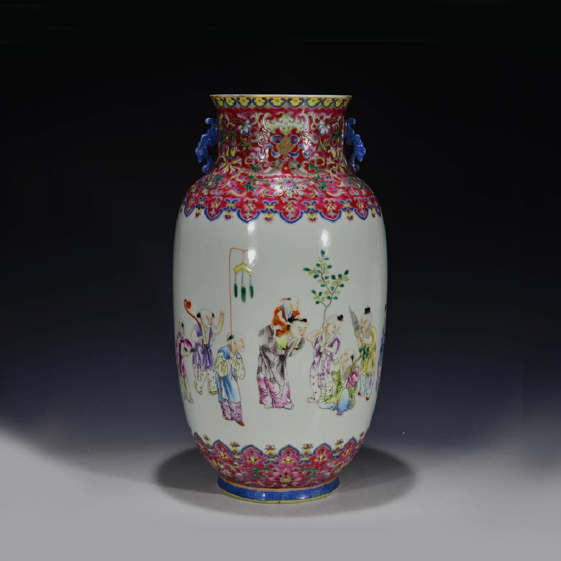 CHINESE 19 TH C FAMILLE ROSE VASE - 5