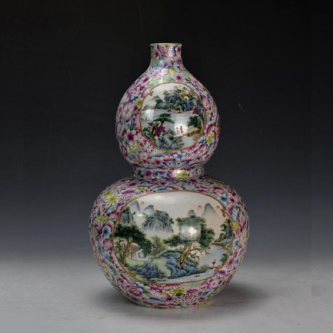 19C TH CHINESE FAMILLE ROSE DOUBLE GOURD VASE