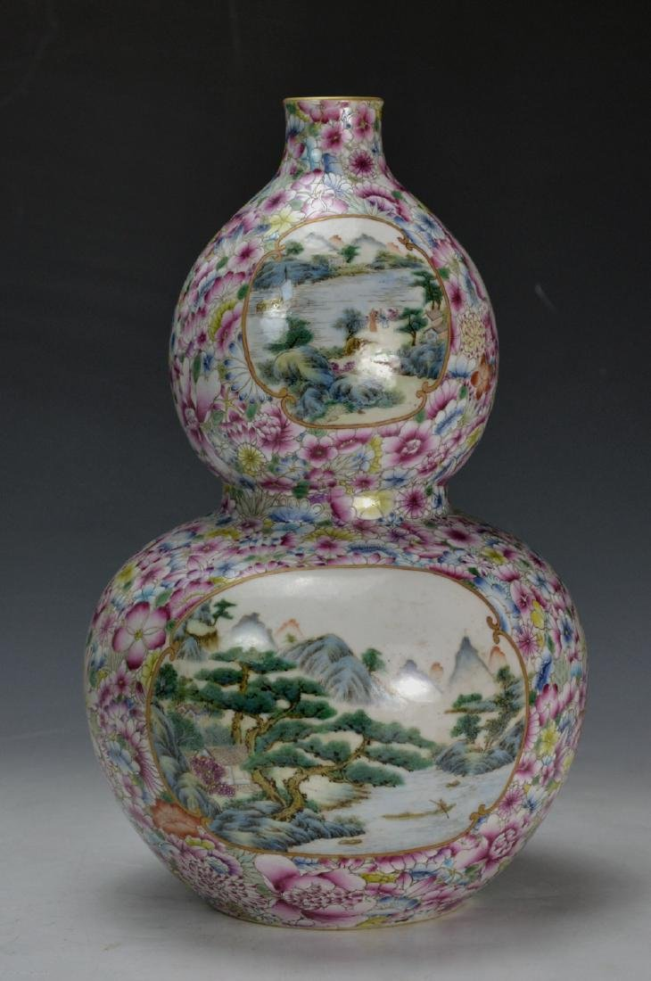 19C TH CHINESE FAMILLE ROSE DOUBLE GOURD VASE - 5