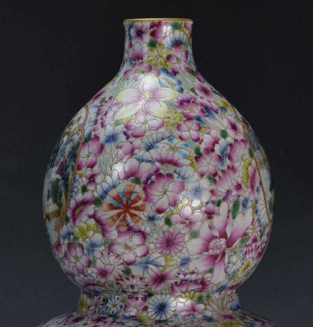 19C TH CHINESE FAMILLE ROSE DOUBLE GOURD VASE - 6