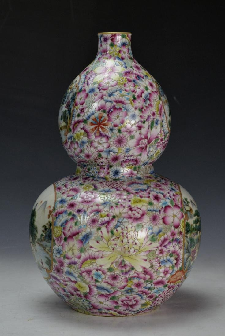 19C TH CHINESE FAMILLE ROSE DOUBLE GOURD VASE - 7
