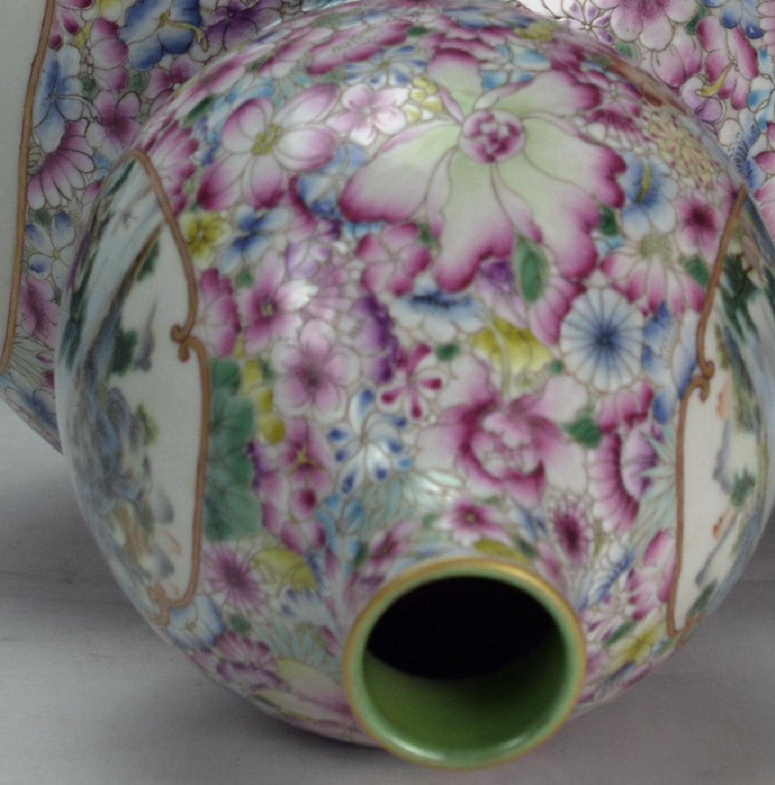 19C TH CHINESE FAMILLE ROSE DOUBLE GOURD VASE - 8