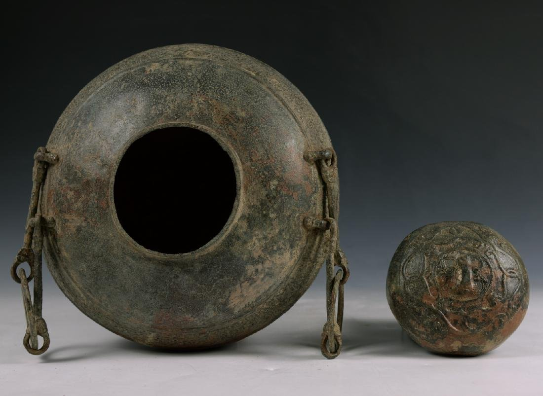CHINESE WESTERN HAN DYNASTY BRONZE HANDLED VESSEL - 6