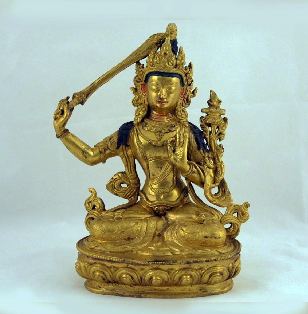 ANTIQUE HEAVY GILT BRONZE BUDDHA STATUE