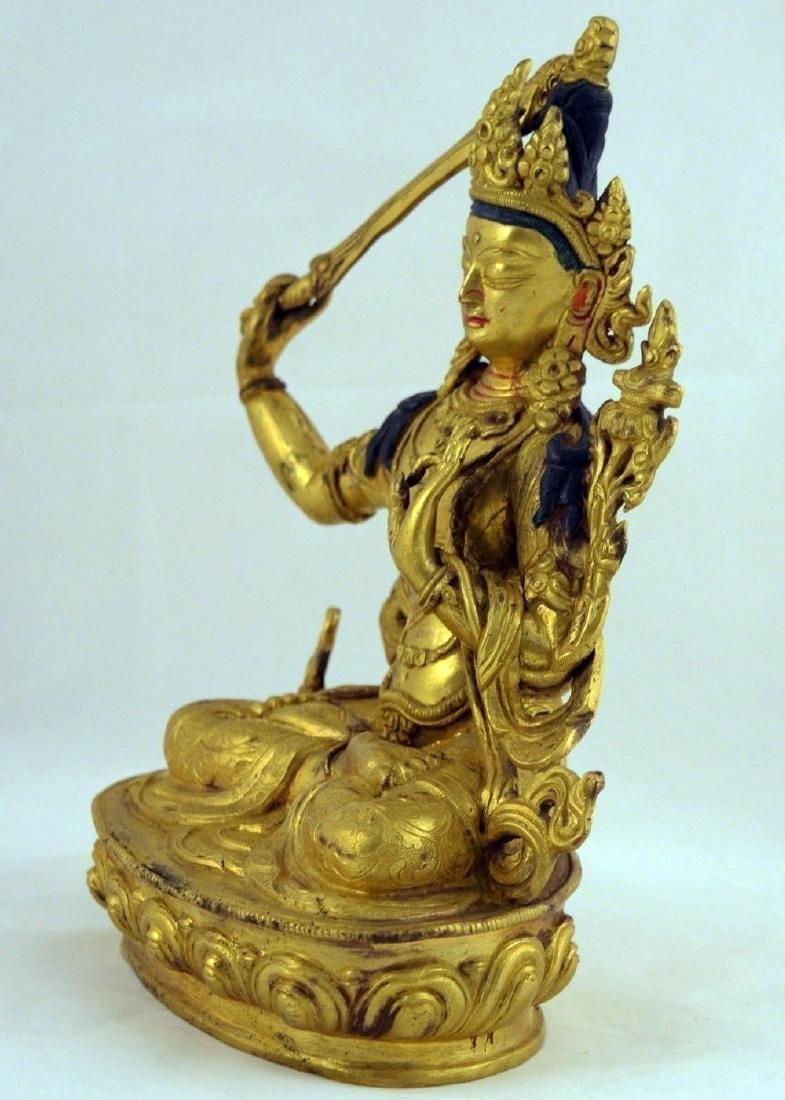 ANTIQUE HEAVY GILT BRONZE BUDDHA STATUE - 3