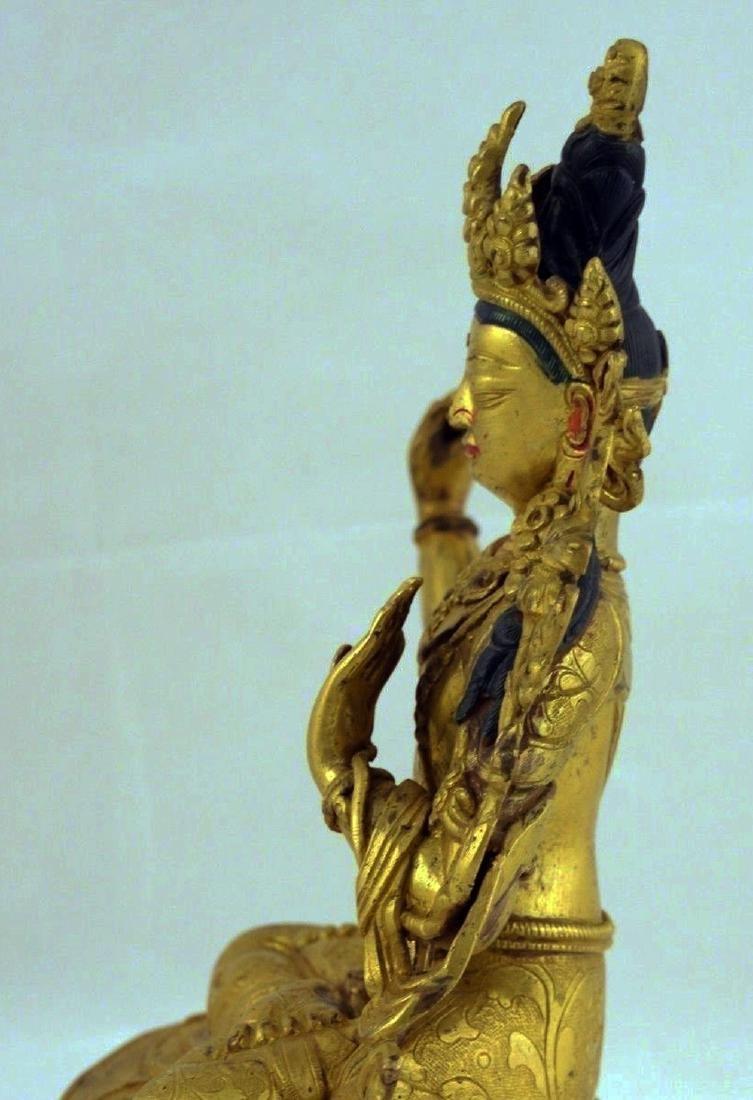 ANTIQUE HEAVY GILT BRONZE BUDDHA STATUE - 4