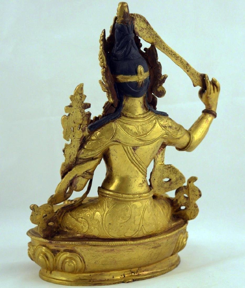 ANTIQUE HEAVY GILT BRONZE BUDDHA STATUE - 5