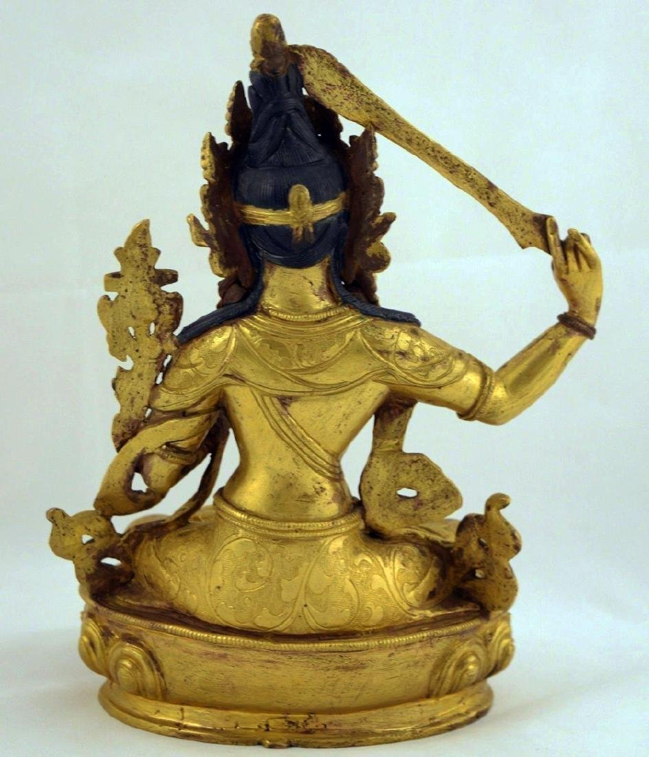 ANTIQUE HEAVY GILT BRONZE BUDDHA STATUE - 6