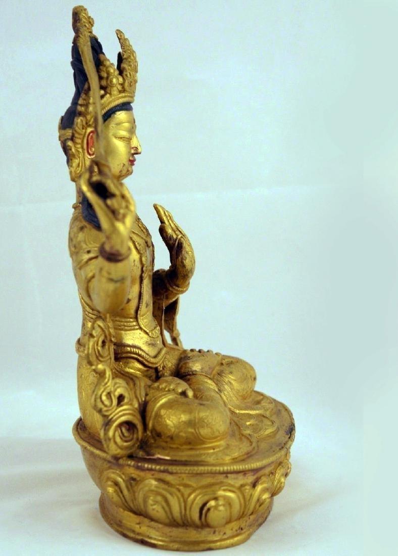 ANTIQUE HEAVY GILT BRONZE BUDDHA STATUE - 7