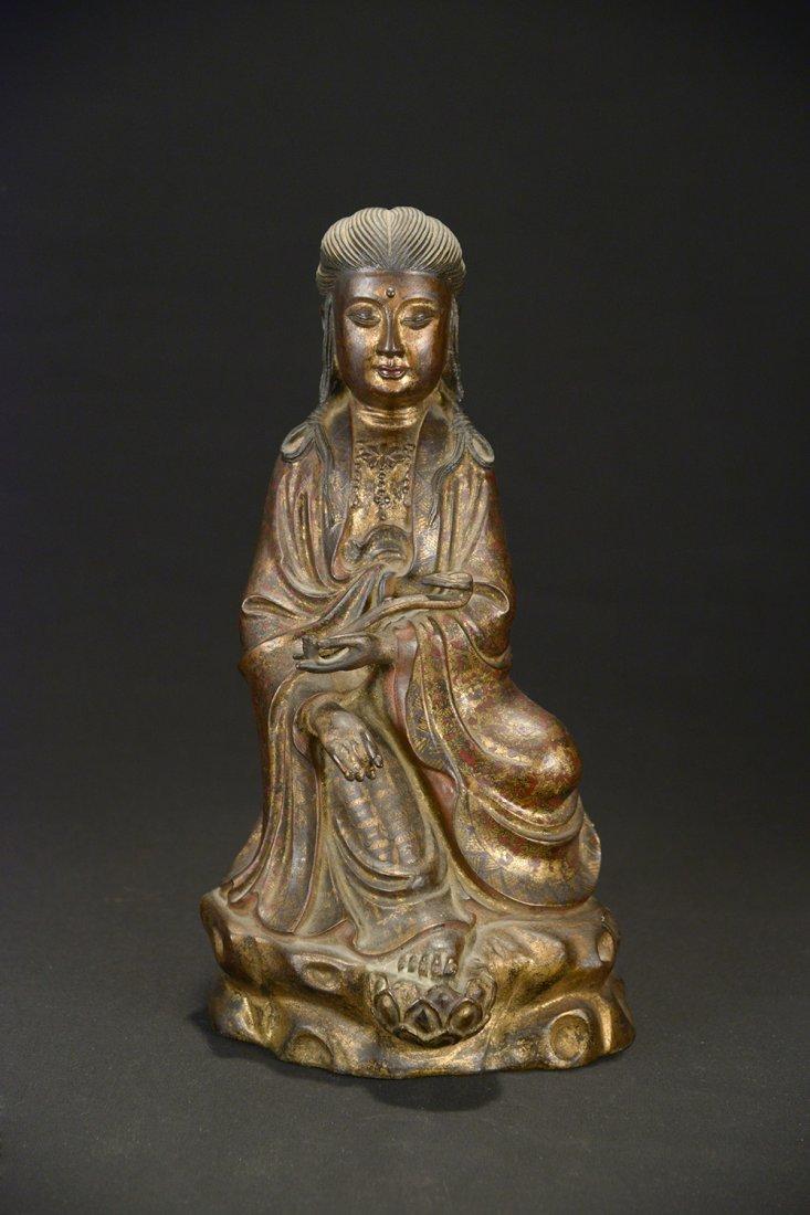 A Gilt-Bronze Guanyin, 19th Century