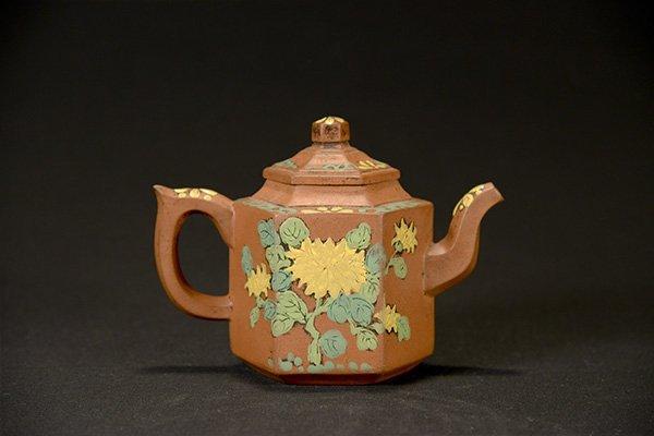 A Polychrome Yixing Teapot