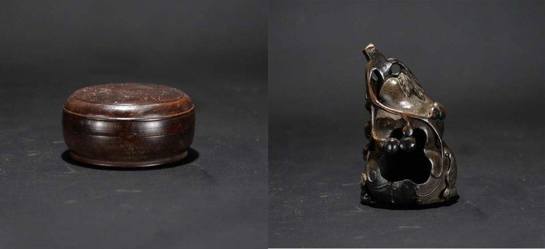 A Bamboo Carving and a Circular Wood Box