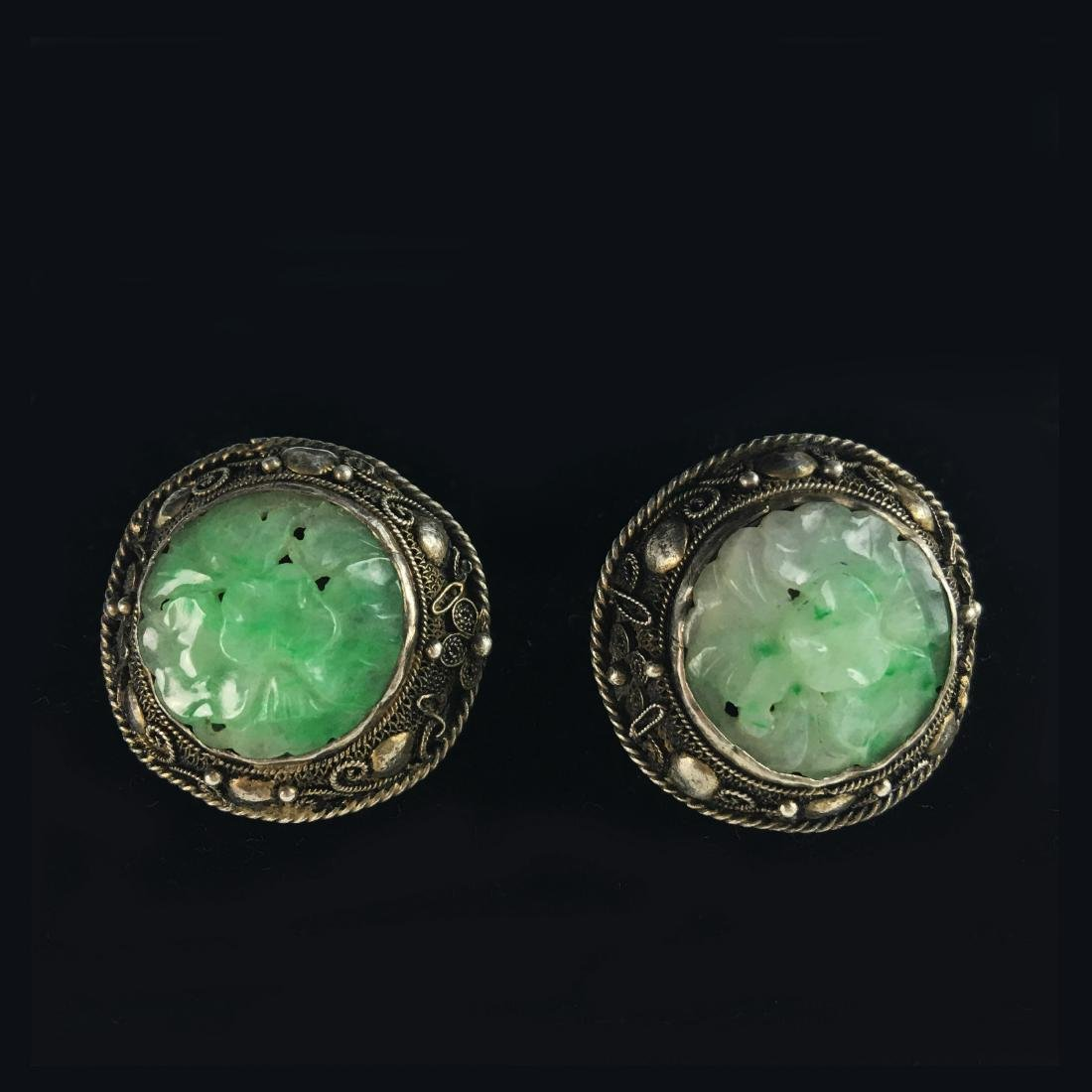 A Pair of Chinese Antique Jadeite Ear Ring Silver