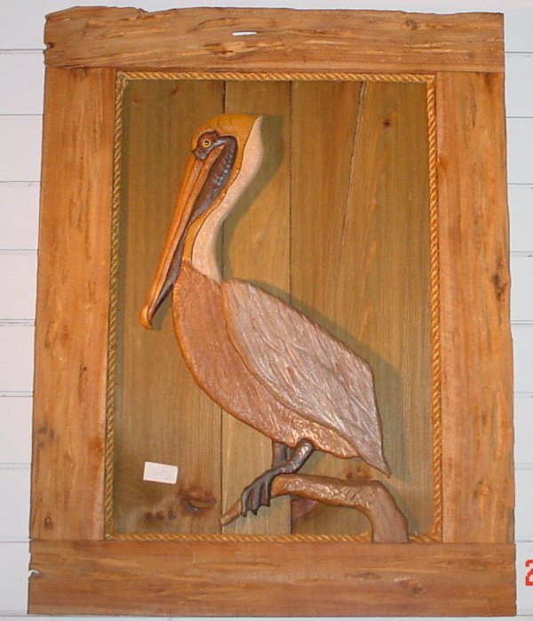 1: Hand crafted Pelican Wall Hanging