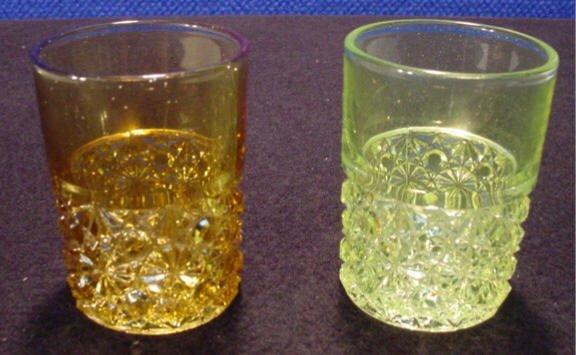 206: Vaseline & Amber Juice Glasses