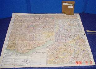 WWII silk map of Europe.