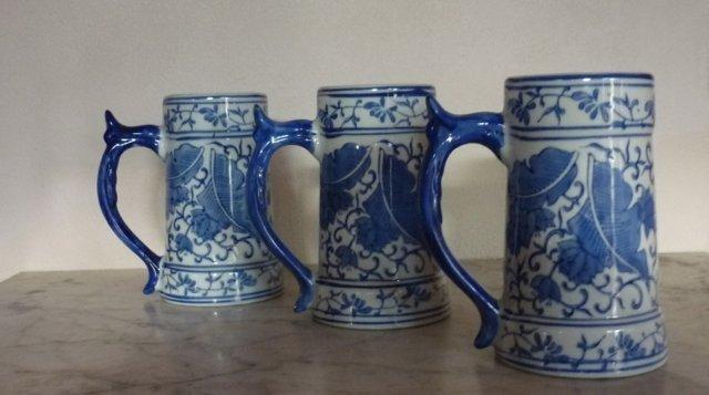 Iron Stone Ceramic Mugs, Cobalt Blue, Hand-painted x 3