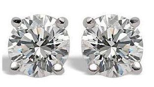 1.05 ct Diamond Earrings, 14K White Gold