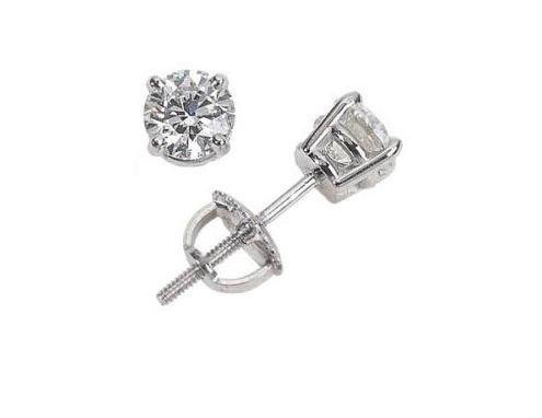 1ctw Round Diamonds, 14k White Gold, Earrings