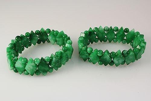 2 Natural Jade Stretch Bracelets, 384.00ctw