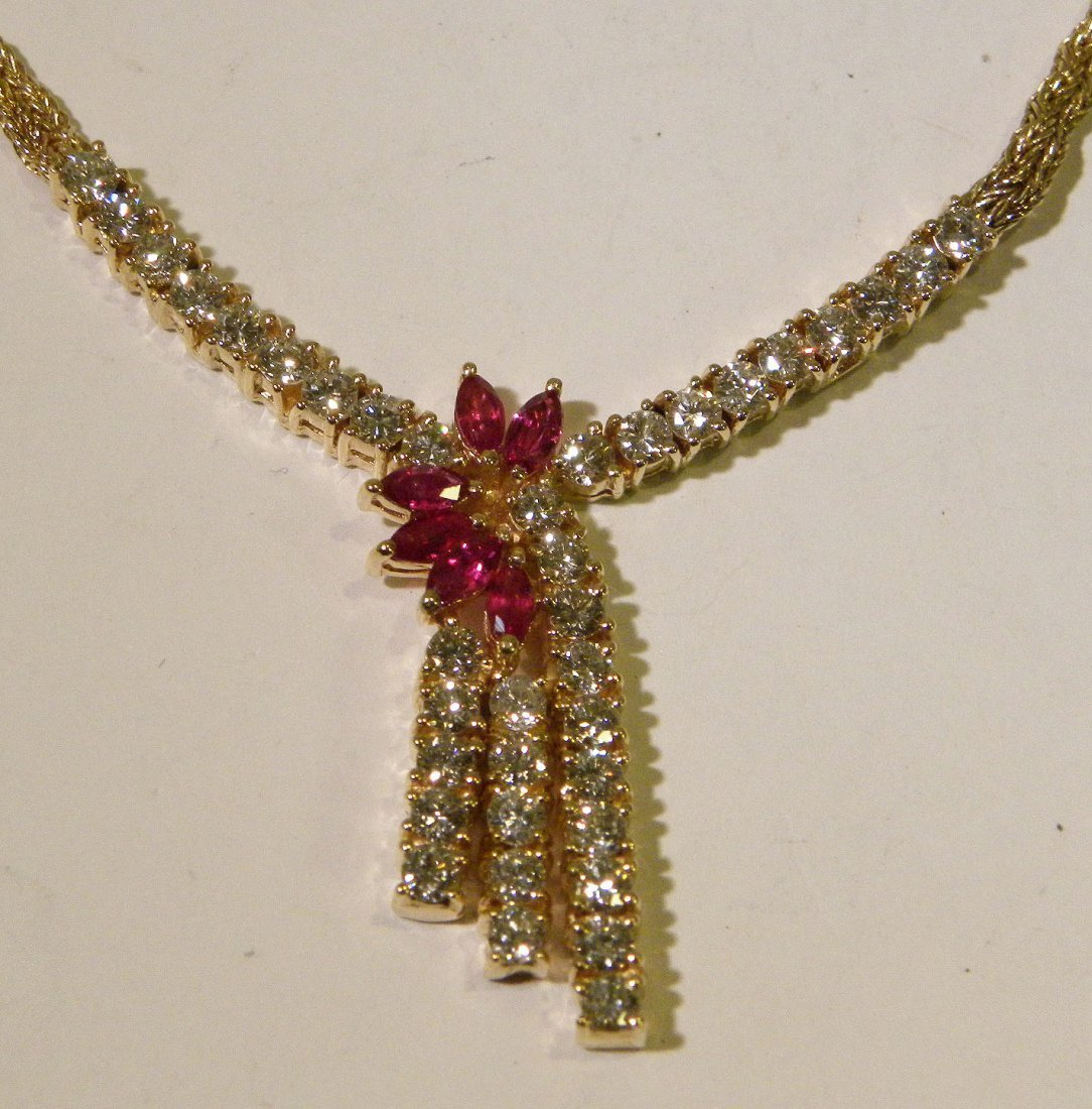 2ctw Diamond and Ruby Necklace