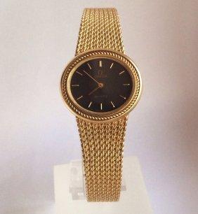 Omega 18K Solid Gold Ladies Bracelet Watch