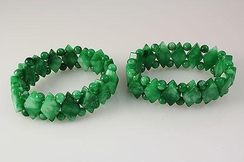 Natural Jade 384.00ctw Stretch Bracelet Lot of 2