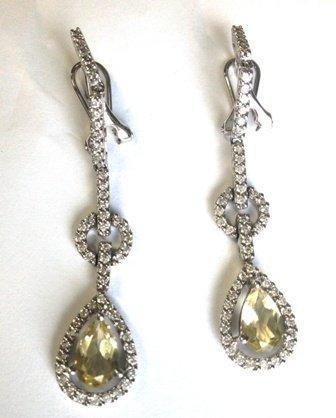 Diamond accented drop earrings