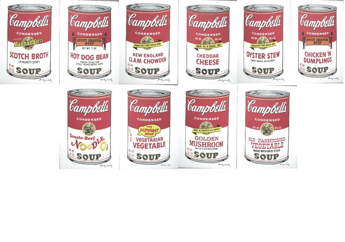 Andy WARHOL 10 Campbell's Soup complete serie 944/2400