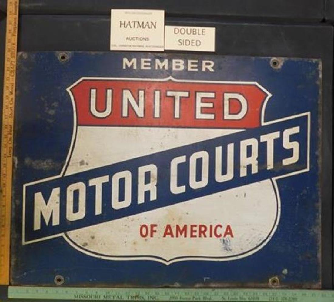 UNITED MOTOR COURTS OF AMERICA PORCELAIN DOUBLE SIDED