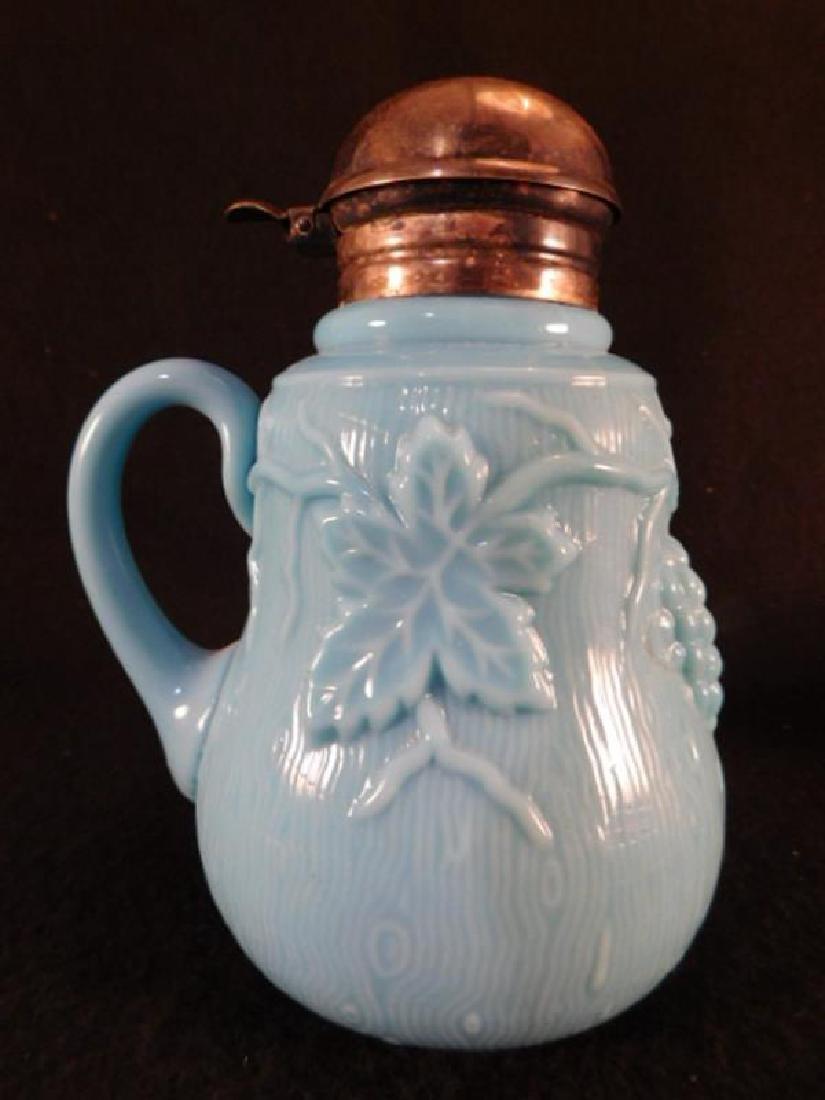 BLUE OPAQUE GRAPE LEAF    VICTORIAN 1800'S EAPG   GLASS