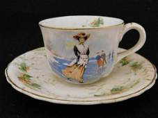 CUP AND SAUCER VICTORIAN ICE SKATER HOLLY BERRY MINOR